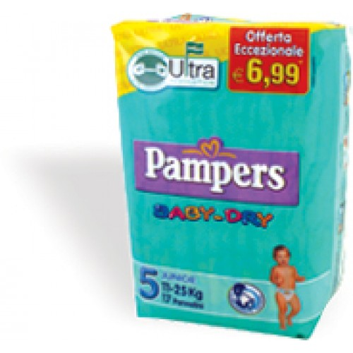 PAMPERS Baby Dry - 5 Junior - 11-25 Kg. 17 pannolini